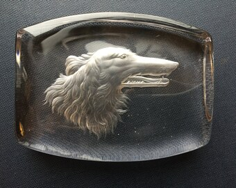 Vintage 1950s Etched Glass Collie Paperweight