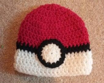 Pokemon pokeball inspired crochet hat preemie to adult