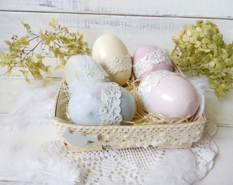 Holiday home décor Easter gift Table décor Easter décor Easter basket Easter egg Wooden egg Cottage chic décor Set of Easter egg Painted egg