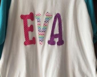 Raglan sleeve baseball shirt with name
