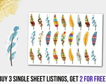 Feather Stickers, Feather Planner Stickers, Boho Stickers, Feathers, ECLP, Mambi Stickers, Plum Paper Stickers, Kikki K Stickers