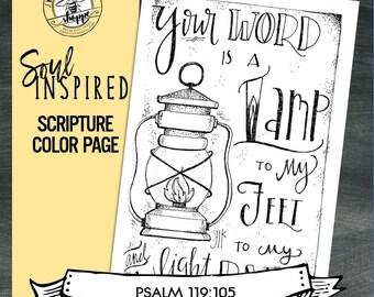 "Soul Inspired - Scripture Color Page/Print ""Psalm 119:105"", light - digital download"