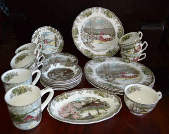 25 Pieces of Vintage Johnson Bros. The Friendly Village China