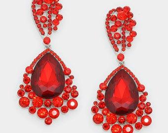 Crystal Earrings | E033487 | Big Earrings | Large Earrings | Pageant Earrings | Bling Jewelry