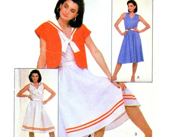 80s McCall's 8007 Short Sleeve Jacket and Sleeveless Dress with Sailor Collar, Uncut, Factory Folded, Sewing Pattern Size 12-16