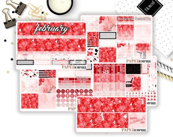 February Valentine's Day Monthly Sticker Kit - 160 Planner Stickers for Erin Condren Life Planner, Happy Planner, Filofax etc.