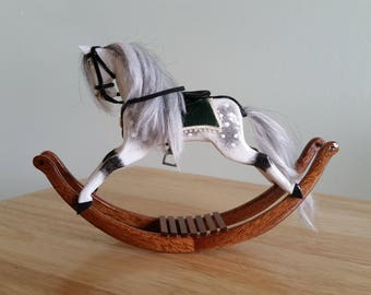 Handmade wooden dolls house miniature rocking horse 1.12 scale