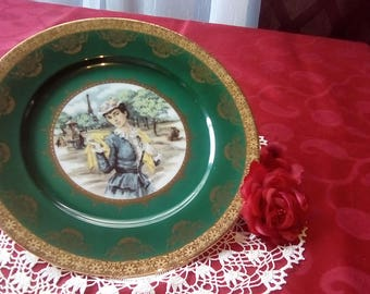 Bavaria Western Germany Plate, Vintage Royal Vienna Plate, Green Hand Painted Collectors Plate With Gold Accent