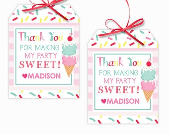 Personalized Pink Ice Cream Party Printable Hang Tags, Ice Cream Cone Custom Thank You Tags, Ice Cream Cone Party, 3x4 Gift Tags