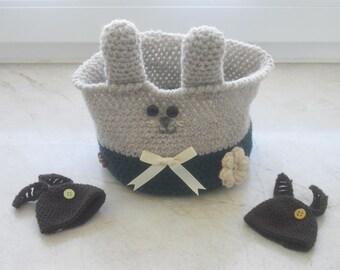 Easter basket - Easter basket - Easter - basket of crochet - crochet nest - handicraft - Easter decoration + 2 egg