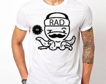 Mens Designer Octopus Printed Yo Rad Chill Black Crew Top New - Printed Cotton White T-Shirt