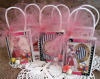 Marie Antoinette Vintage Party Favor Size Bags - Set of Six - Tea Party - French