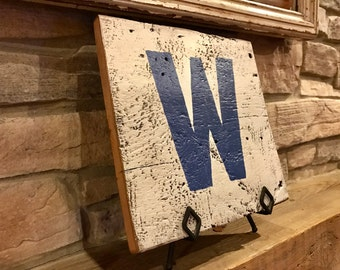 Cubs W Sign - Reclaimed Barnwood