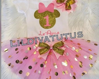 Pink and Gold Minnie mouse tutu set / Pink and Gold first birthday tutu set
