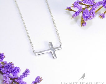 Plain Slanted Sideways Cross Necklace 925 Silver Yellow Rose Gold