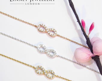 Small Infinity Bracelet Cz 925 Silver Yellow Rose Gold
