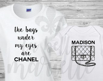 Mommy & Me Chanel Inspired Set - Chanel Inspired Mommy and Me Shirts - Chanel Inspired Shirt - Baby Chanel Shirt - Chanel Shirt