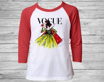 Girls Snow White Vogue Raglan Tee - Disney Vogue Snow White Raglan Shirt - Disney Vogue Princess Shirt