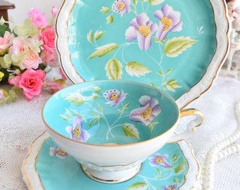 german tea cup flower tea cup set Lichte GDR Germany flower tea cups trio german porcelain cobalt teacup