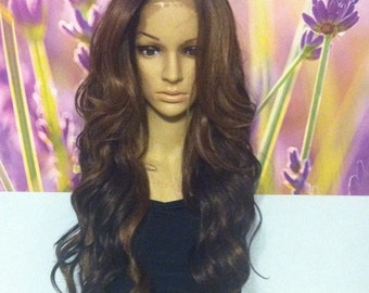 Ombre dark roots to two shades of browns Lace Front wig 24' heat resistant.