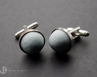 Cufflinks porcelain, blue colored, matt, D 16 mm