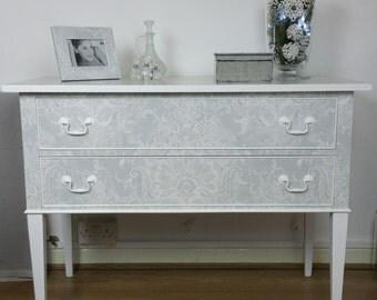 Mahogany Dressing Chest\ Sideboard, 2 Drawers\ Laura Ashley Wallpaper