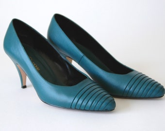 80s/90s Bold Teal Ribbed Leather Pumps - Dark Turquoise Heels - Teal High Heels - Size 6