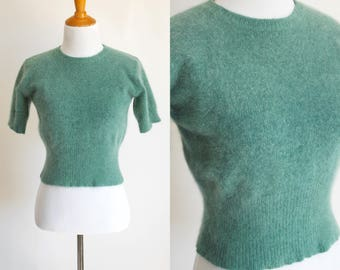 90s Teal Fuzzy Angora Sweater - Cropped Short Sleeve Sweater - Angora Lambswool Blend - Teal Green Sweater - Summer Sweater - Size Small