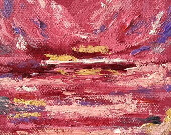 Pink Abstract 4x4 Oil Painting