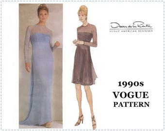 1990s Sewing Pattern - Oscar de la Renta - Vogue 2066 Sewing Pattern - Special Occasion Dress, Size 8 10 12 - Bust 31 32 33 34 - UNCUT