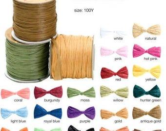 "100 yards Matte Raffia Gift Packaging Ribbon, 1/4"" - Choose Colors"