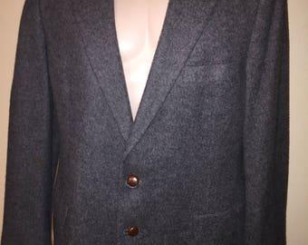 Vintage Kilgour French & Stanbury CAMEL HAIR men's sport jacket in grey Sz L