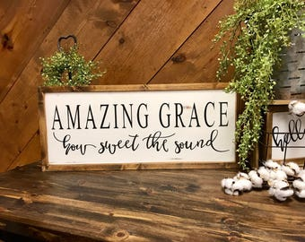 Amazing Grace sign, hand painted sign, farmhouse decor, rustic decor, country decor