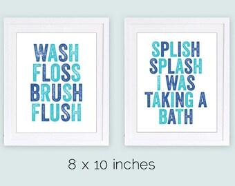 Set of 2 Prints, Bathroom Prints, Boys Bathroom Art, Kids Bathroom Prints, Splish Splash, Wash Floss Brush Flush, PRINTABLE Bathroom Art