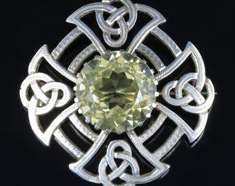 Antique Victorian Scottish Silver Celtic Brooch Citrine Stone