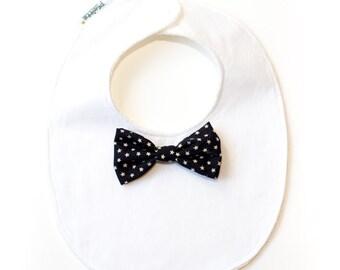 "Bib ""little man""-black bow ties with starlets"
