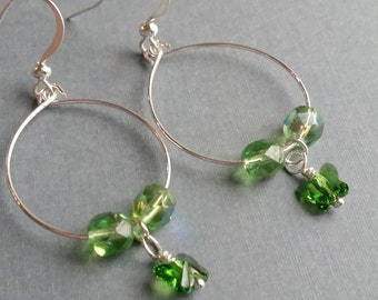 Spring Green Butterfly Drops . Earrings