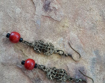 Handmade red, black and bronze wood and metal dangle/drop stylish boho ethnic looking  beaded earrings