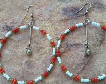 Beaded handmade simple stylish modern elegant trendy fashion party dance red white green silver prom spring summer African big hoop earrings