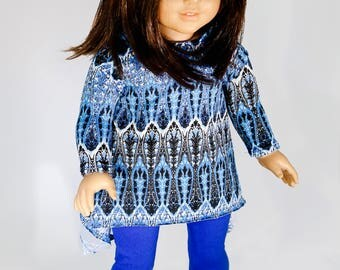 American made Girl Doll Clothes, 18 inch Girl Doll Clothing, Sunlit Glass Tunic with Leggings made to fit like American girl doll clothes