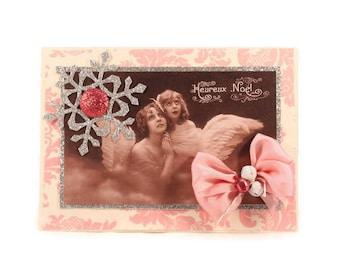 Angel Christmas Card, Joyeux Noel, Holiday Card, Xmas Card, Victorian Style, Vintage Style, Retro Holiday, French Inspired, Paris Christmas