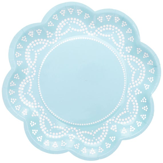 Il_570xn  sc 1 st  Catch My Party & Plates | Lovely Lace Pastel Blue Paper Plates 8