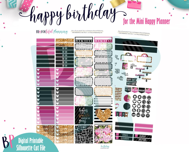 Birthday Kit // Mini Happy Planner // Weekly Kit // Printable