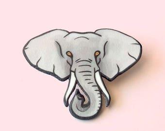 Elephant pin, Animal brooch, Animal totem, Grey, Animal lover gift