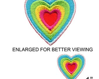 """Small Rainbow Heart Iron On Patch 1"""" Free Shipping by Fuzzy Dude 2794"""