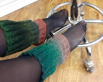 Leg warmers. Hand knitted leg warmers. Boot socks. Women's leg warmers. Dark green leg warmers. Soft leg warmers. Elegant leg warmers.