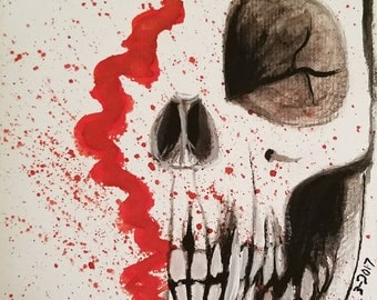 Dead original watercolors painting on acid free paper 6x6 inches