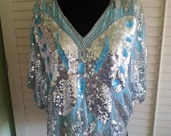 Vintage silk shirt, vintage sequin shirt, blue aqua silk shirt, vintage aqua blue shirt, sequin shirt,vintage sequin 100% silk shirt A3