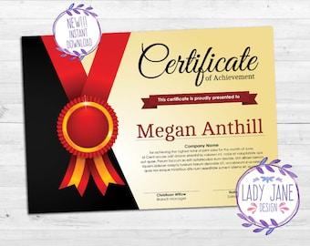 Custom Personalized Certificate of Achievement