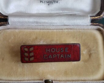 Vintage  rectangle unusual shape HOUSE CAPTAIN school badge pin shield red enamel/Prefect